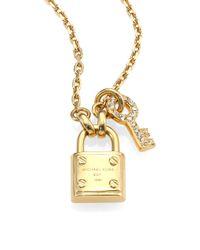Michael Kors | Metallic Padlock Key Pendant Necklace | Lyst