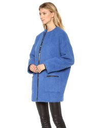 MSGM Blue Mohair Coat