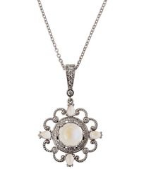 Penny Preville - White Gold Diamond Moonstone Pendant Necklace - Lyst