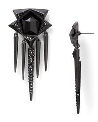 Sam Edelman - Black Pave Faceted Stone Spike Drop Earrings - Lyst