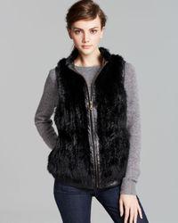 Surell Black Rabbit Fur Vest With Leather Trim