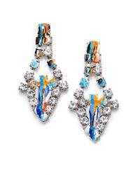 Tom Binns - Metallic Paint Splattered Crystal Teardrop Earrings - Lyst
