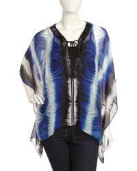 Alberto Makali - Blue Printed Lace-up 3/4-sleeve Top - Lyst