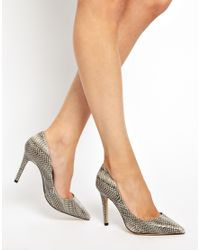 ALDO Gray Baulch Snake Print Natural Heeled Court Shoes
