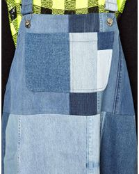 Ashish Blue Dungaree Dress in Patched Denim