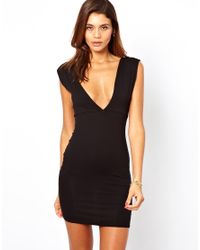 ASOS Black Deep V Plunge Mini Dress