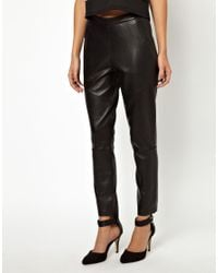 ASOS Black Leather Pant with High Waist in Super Soft Leather