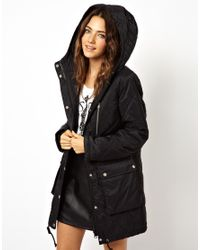 ASOS Black Quilted Parka With Borg Lining