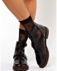 ASOS Black Sheer Cross Ankle Socks With Frill Top
