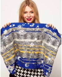 ASOS Blue Lauren Mccalmont For Foil Print Cut About Argyle Salt Pepper Snood