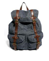 ASOS Blue Wool Backpack in Herringbone for men