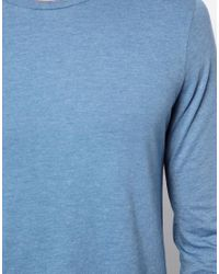 ASOS Blue Long Sleeve Tshirt with Crew Neck for men