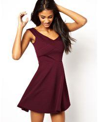 ASOS Purple Ribbed Skater Dress