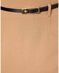ASOS Natural Belted Pencil Skirt