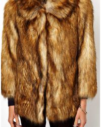 ASOS Brown Vintage Faux Fur Coat