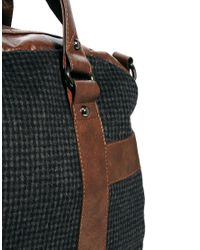 ASOS Brown Wool Holdall in Small Check for men