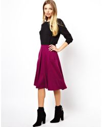 ASOS Purple Midi Skirt in Ponte with Pocket Detail