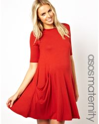 ASOS Red Swing Dress with Pockets and Half Sleeve
