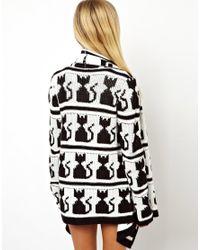ASOS White Blanket Wrap Coatigan in Kitty Pattern