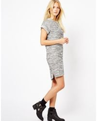 ASOS Gray Knitted Dress with Rolled Sleeves