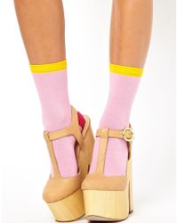 ASOS 3 Pack Pink Color Block Ankle Socks