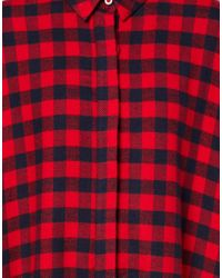 ASOS Red Extreme Swing Dress in Check