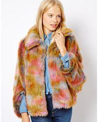 ASOS Multicolor Rainbow Fur Coat
