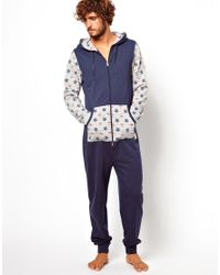 ASOS Blue Onesie with Contrast Printed Sleeves for men