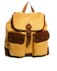 ASOS Yellow Canvas and Leather Backpack for men