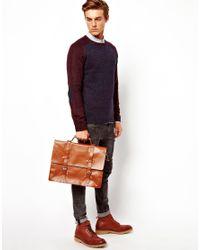 ASOS Brown Double Strap Leather Satchel for men