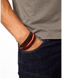 Fred Perry Natural Wooden Bracelet with Fluoro Beads for men