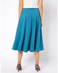 ASOS Blue Midi Skirt with Stitch Waist Detail
