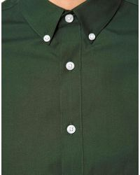 ASOS Green Smart Shirt in Long Sleeve with Button Down Collar for men