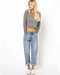 ASOS Gray Asos Premium Structured Cropped Sweater