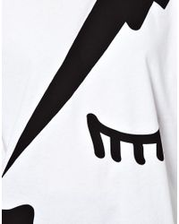 ASOS White T-shirt with Abstract Lightening Face Print