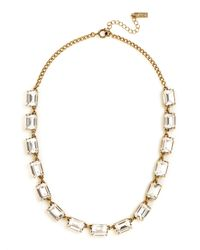 Swarovski | Green Emerald Cut Gem Necklace | Lyst