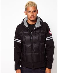Canada Goose Black Hooded Jacket Hybridge for men
