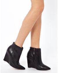 Carvela Kurt Geiger Black Share Leather Slim Wedge Pointed Ankle Boots