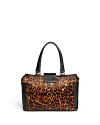 Cole Haan Brown Lafayette Leopard Print Hair Calf Leather Tote