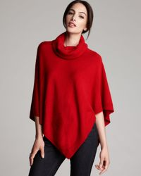 Eileen Fisher Red Turtleneck Wool Poncho