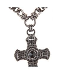 Emilio Pucci Metallic Embellished Crucifix Necklace