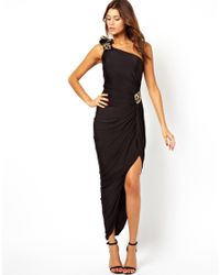 Forever Unique Black Maxi Dress with Thigh Split