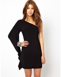 Forever Unique Black One Shoulder Dress with Jewels