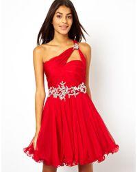 Forever Unique Red One Shoulder Prom Dress