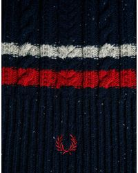Fred Perry Blue Cable Scarf for men