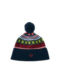 Fred Perry Blue Fairisle Beanie Hat for men