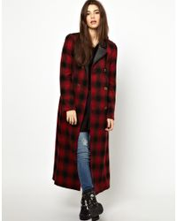 Free People Red Maxi Sergeant Coat in Shadow Plaid
