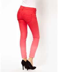 Free People Red Ombre Cropped Skinny Jean