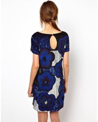 French Connection Multicolor Fauna Fantasy Beaded Dress