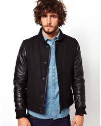 G-Star RAW Black Wool Bomber Jacket Winchester Wool for men